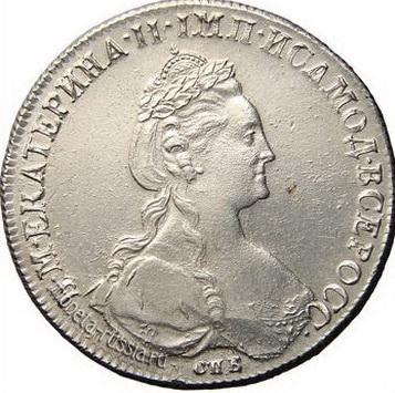 Монета Екатерины II.Истории русских банкнот